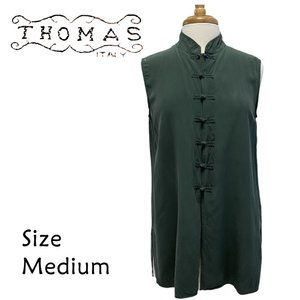 Thomas Italy Silk Green Knot Button Front Blouse